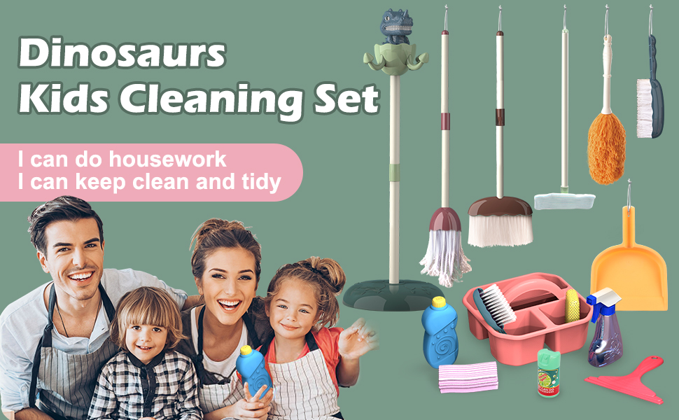 dinosaur kids cleaning set