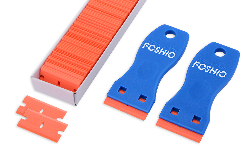 FOSHIO 2PCS Plastic Razor Scrapers Knife with Contoured Grip + 100 PCS 1.5 inch Refillable Double Edge Plastic Razor Blades Ideal for Auto Window Tint ...