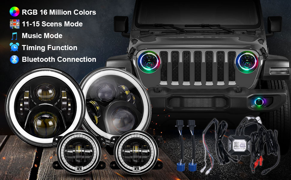 7 rgb headlights halo jeep wrangler headlights jeep headlights halo led headlights jeep wrangler