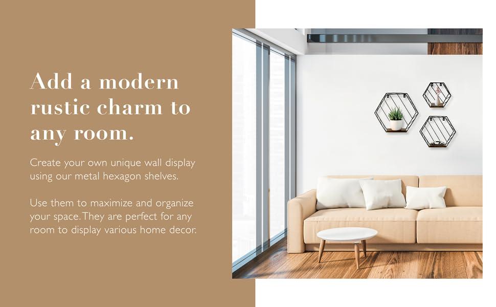 NAUMOO Metal Hexagon Shelves, Modern rustic style home decor, Perfect wall display for any room