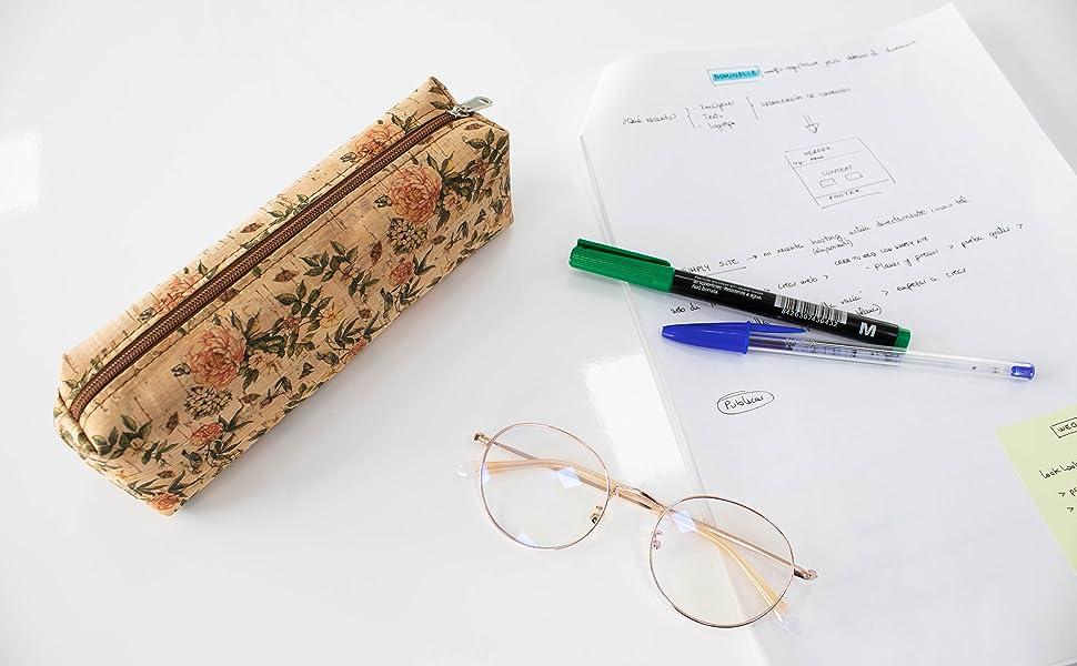 Estuche lapicero de corcho natural fabricado a mano en España (ECORC-04): Amazon.es: Oficina y papelería