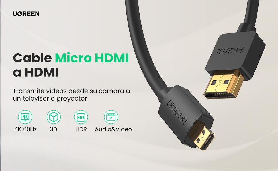 UGREEN Cable Micro HDMI a HDMI Adaptador Micro HDMI to HDMI 3D 4K Alta Velocidad con Ethernet ARC, para Raspberry Pi4, BQ Aquaris M10 M8, Cámara de acción, Sony Alpha, Tableta, Portátil (