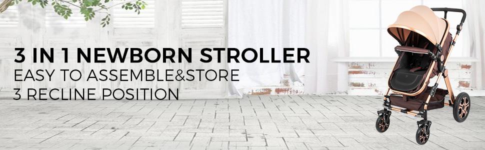 1 - VEVOR Baby Stroller 2 In 1 Stroller Bassinet Stroller Foldable Anti-Shock Newborn Stroller Baby Carriage Stroller Luxury Baby Trend Stroller Stroller For Baby Pram Stroller