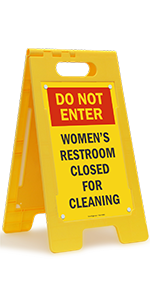 Do Not Enter Women's Restroom Closed for Cleaning, Folding Floor Sign, High-Impact Plastic
