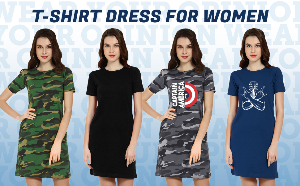 Buy Wear Your Opinion Women's Knee Length Long T-Shirt Dress at Amazon.in
