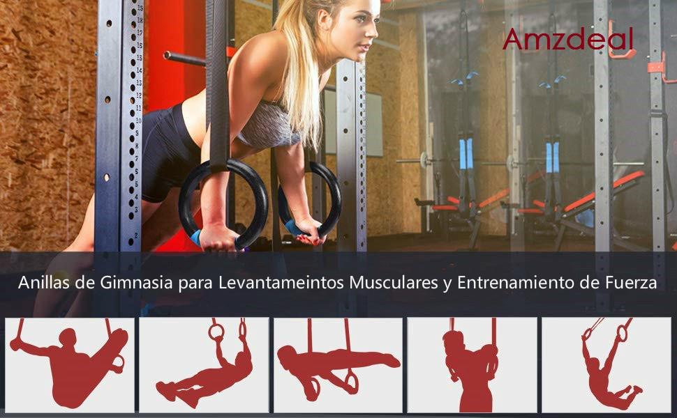 amzdeal Anillos de Gimnasia Olímpico Anillos de Gimnasia ABS Profesional con Hebillas Ajustables para Entrenamiento (Capacidad de Carga es de 400kg-Un ...