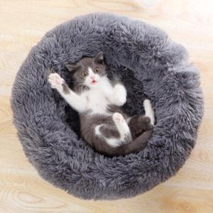 soft cat bed dark grey