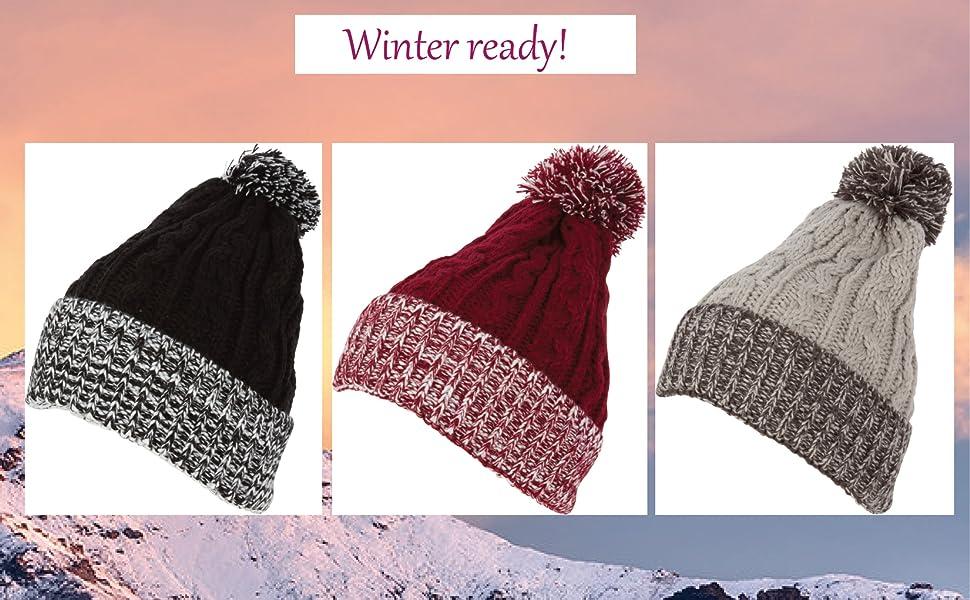 White /& Black Pom Pom Ski Checker Winter Skull Warm Cuffed Long Knit Beanie Hat