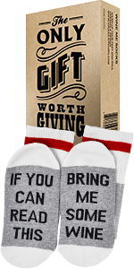 """Comfort Cotton Socks + Gift Box """"If you can read this bring me a glass of wine Perfect Gift"""
