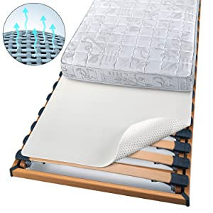 Beautissu Protector somier BEAUTECT embellecedor Cubre somier colchón con Nudos Tex ecológico Siegel Lavable Blanco 90x200 cm