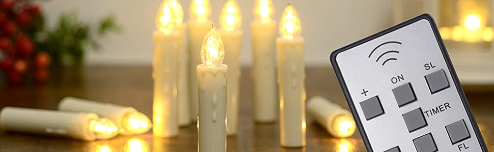 PChero Window Candles with Timer Remote, Waterproof Dimmable LED Flameless Taper Ivory Timer Candles