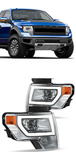 Projector Headlights Compatible with 2009-2014 Ford F-150