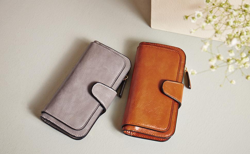 Wallet for Women Leather Designer Bifold Long Ladies Credit Card Holder Organizer Ladies Clutch