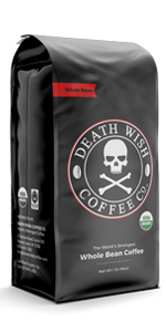 Death Wish's dark roast whole bean is the world's strongest coffee, perfect for caffeine lovers.