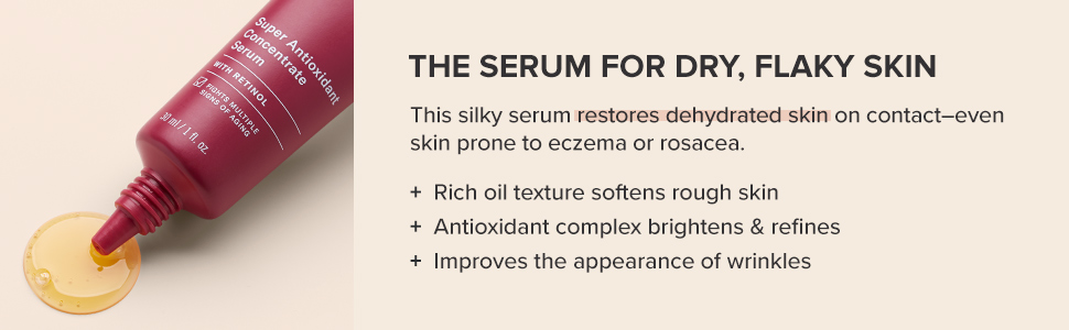 A hydrating serum that softens rough skin, including skin prone to eczema and skin prone to rosacea.