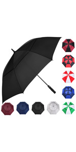 Automatic Open Golf Umbrella, 62/68 Inch Extra-Large Oversized Double Canopy Vented Windproof