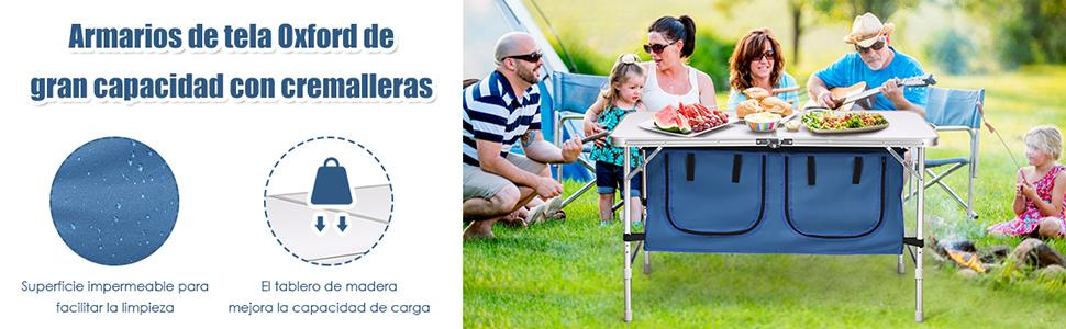 COSTWAY Mesa de Camping Mesa Plegable con Compatimientos Mesa para Picnic Interior Exterior (Azul): Amazon.es: Hogar