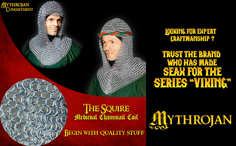 chainmail coif chain mail maille camail hood costume LARP SCA Reenactment knight warrior cosplay