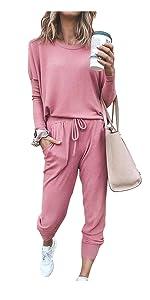 LaSuiveur Womens Tie Dye Sweatsuit Set 2 Piece Outfit Long Sleeve Sweatshirt and Drawstring Sweatpants Tracksuit Jumpsuit Pink S