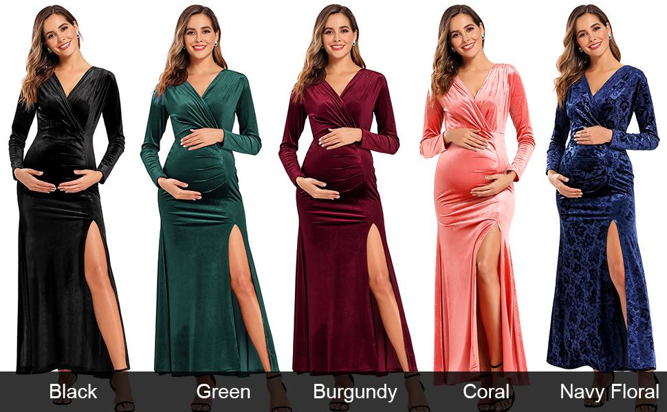 Formal Maternity Dress Long Sleeve Maxi Velvet Dresses For Women Green Xxl At Amazon Women S Clothing Store
