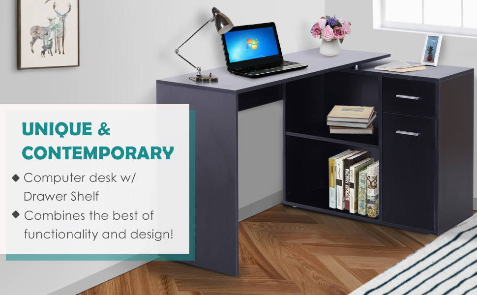 360° Rotating Corner Desk Computer Table w/Storage Cabinet Shelf