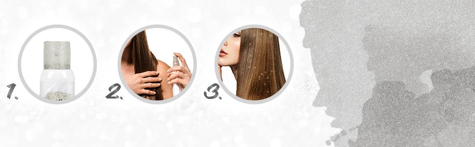 Punky Colour Temporary Hair and Body Glitter Color Spray - Silver, 3.5 oz