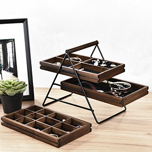 various compartments wood tray