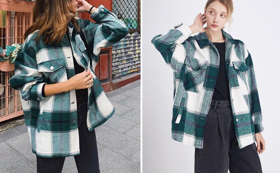 womens wool blend plaid lapel button short shacket shirts coats women shirt jacket red plaid t-shirt