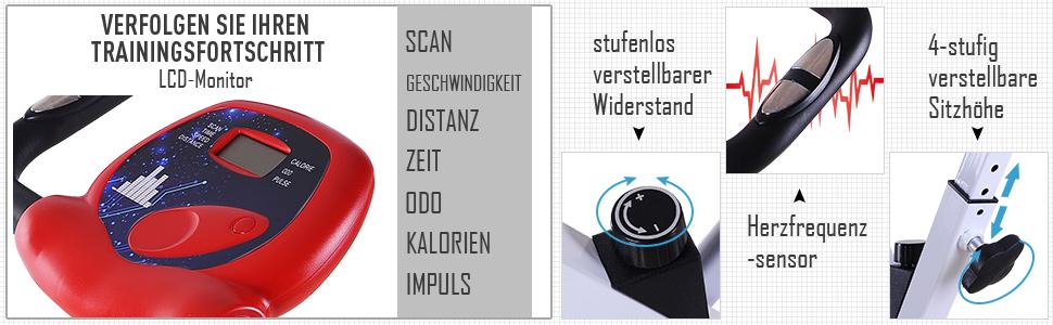 Heimtrainer Ergometer Fitnessfahrrad mit Display klappbar Fitness