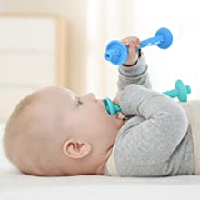 baby teething tube with safety shield by giftty easy to grip