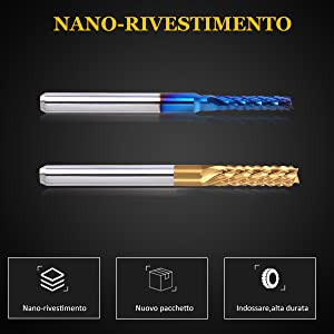 Rivestimento In Titanio Frese A Spirale Con Codolo Cilindrico 1//8Con Rivestimento Blu Nano Mcwdoit 40 PCS Set Fresa CNC Naso Piatto Naso A Fresa CNC Sferica 3.175 x 38mm