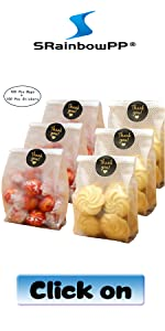 SAILING-GO 48 pcs.//Pack Translucent Plastic Bags for Cookie,Cupcake,Chocolate,Candy,Snack Wrapping Good for Bakery Party with Gold Inserts and Thank You Stickers