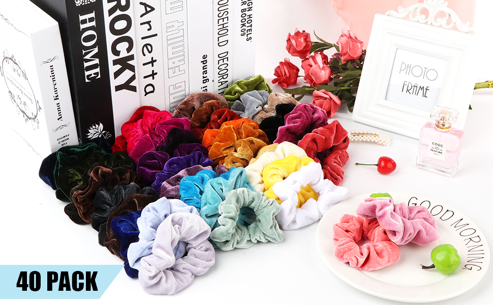 40 Assorted Colors Hair Scrunchies