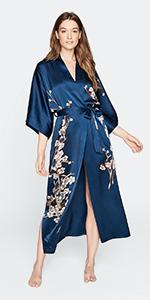 KIM+ONO Women's Handpainted Silk Kimono Robe - Cherry Blossom Ink