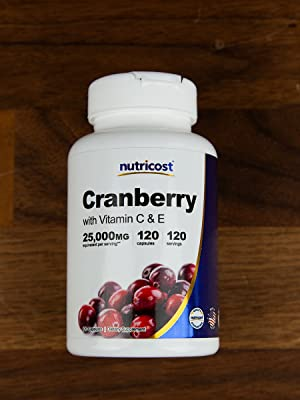 Nutricost Cranberry Extract with VItamin C amp; E 120 Capsules 25,000 Equivalent per serving