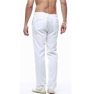 Leoclotho Pantalon De Lino Para Hombre Comodos Largo Pantalones Lino Sueltos De Playa Con Bolsillos Laterales Pantalones