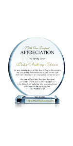 Personalized Circle Shaped Crystal Appreciation Gift Plaque