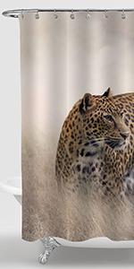 Cheetah Walking in The Grassland Shower Curtain