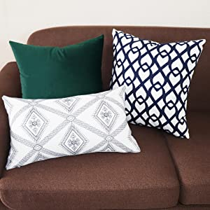green decorative pillows