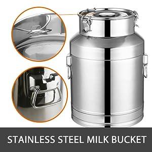 hantop milking machine for cow goat stainless steel bucket