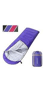 ASHOMELI Camping Sleeping Bags For Adults Purple