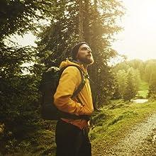 yellow hiking jacket