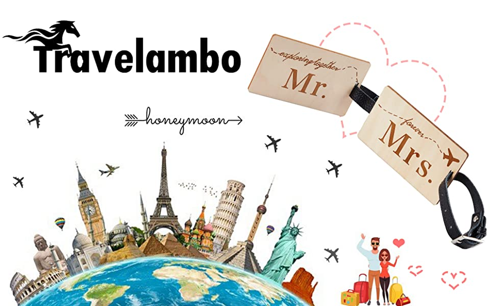 0d8a2d0dbe8a Travelambo Mr Mrs honeymoon Luggage Tags Wood Travel Cute Couples Gift (2  pcs set)
