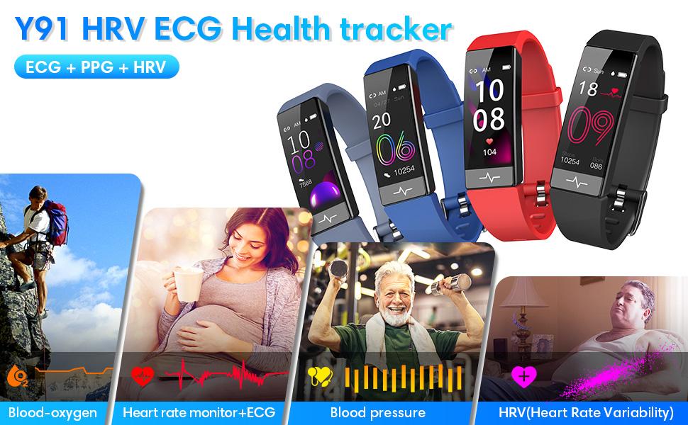 Fitness Tracker Heart Rate Monitor Waterproof Watch HRV Health Sleep  Monitor SPO2 Blood Oxygen
