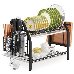 Cup Holder, Rustproof Nano Coating Dish Drainer for Kitchen Counter, Dish Dryer Shelf Storage