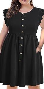 plus size reffle sleeve casual mid dress