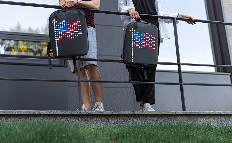 Laptop backpack with customizable LED screen