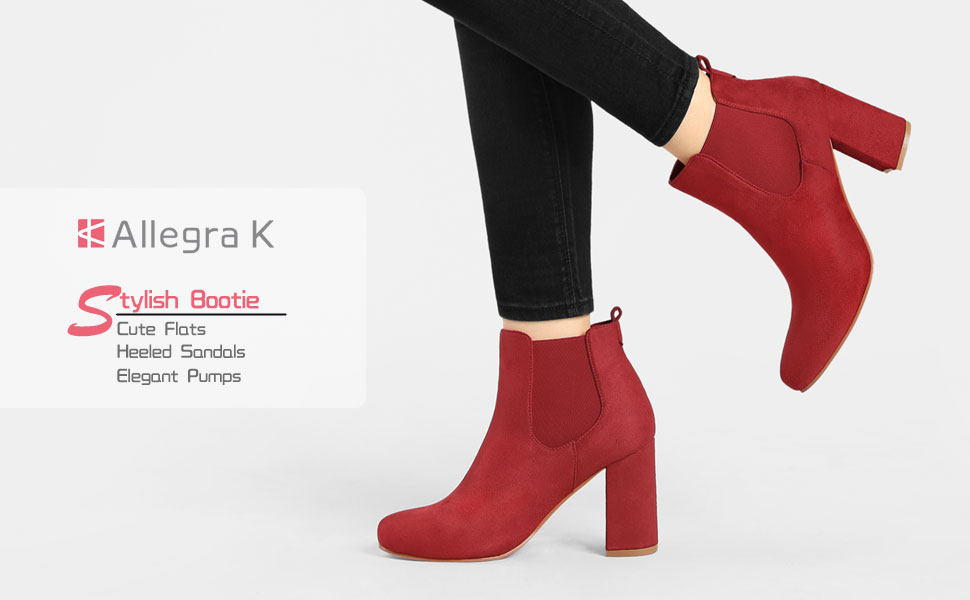 Allegra K Women's Round Toe Chunky High Heels Ankle Chelsea Boots