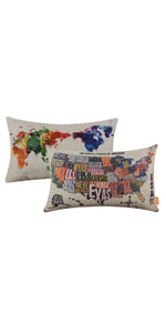 LINKWELL Set of 2 World Map Pillow Cover
