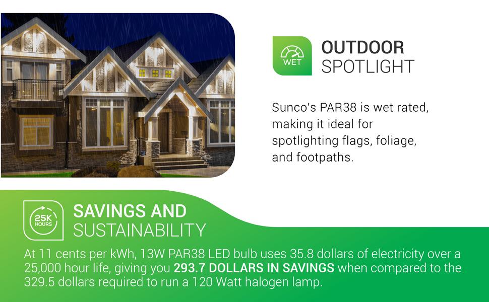 Sunco Lighting PAR38 LED Bulb 13W=100W, 1050 LM, Dimmable, Indoor/Outdoor Spotlight, Waterproof